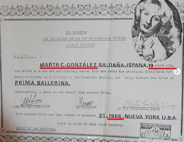 マルタ・シンタ・ゴンザレスの卒業証書